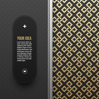 Web banner template on golden metallic background with seamless geometric pattern. Elegant luxury style.