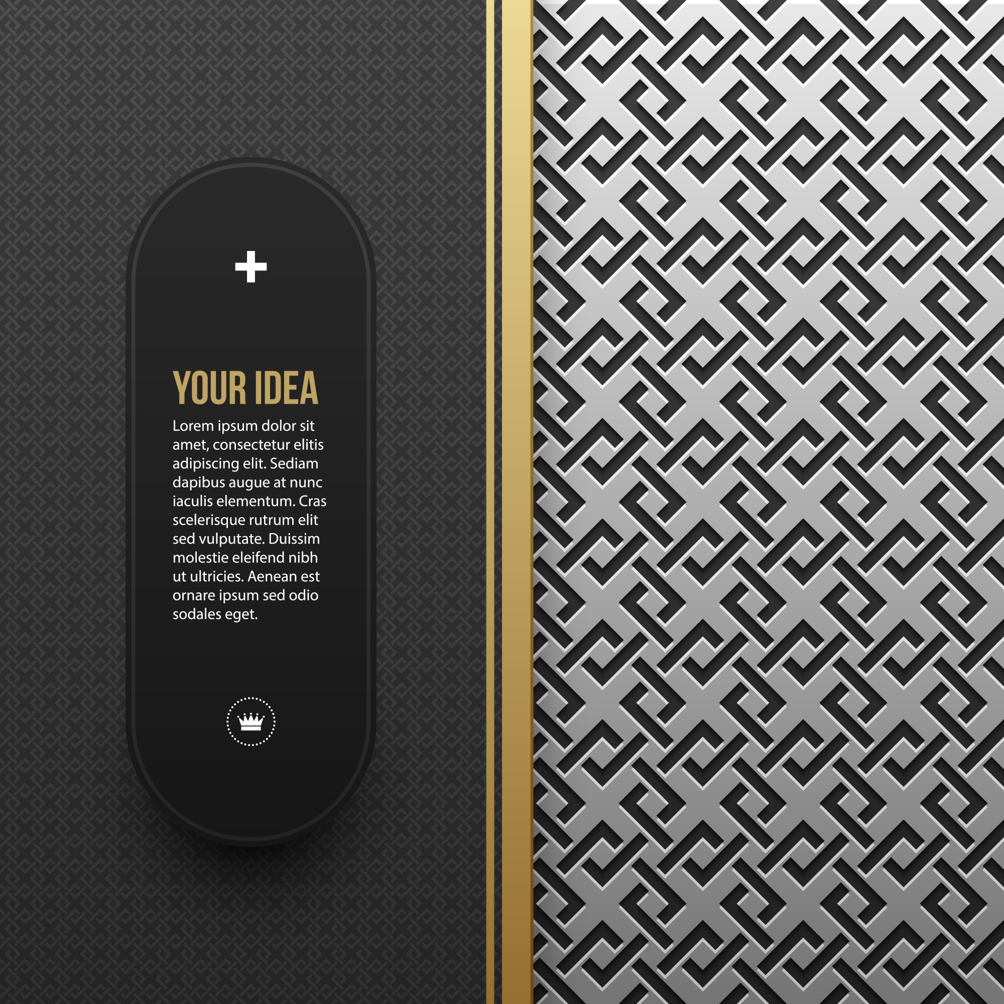 Web banner template on silver/platinum metallic background with seamless geometric pattern. Elegant luxury style.
