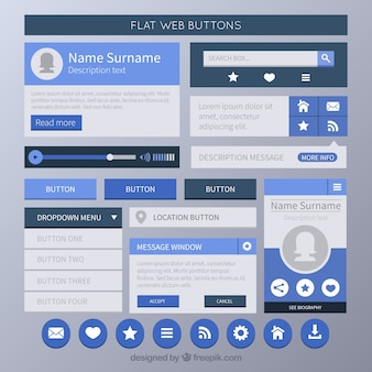 Web buttons set in flat style