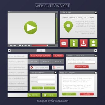 Web buttons set in green color