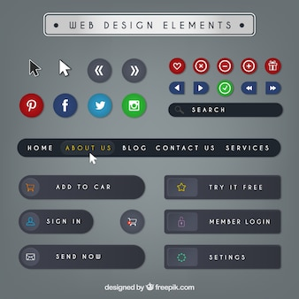Web design elements pack in flat style