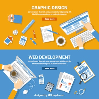 Web development and graphic design banners