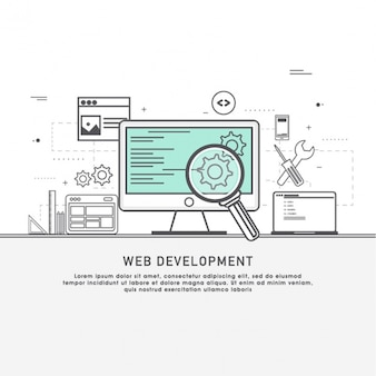 Web development background with blue detail