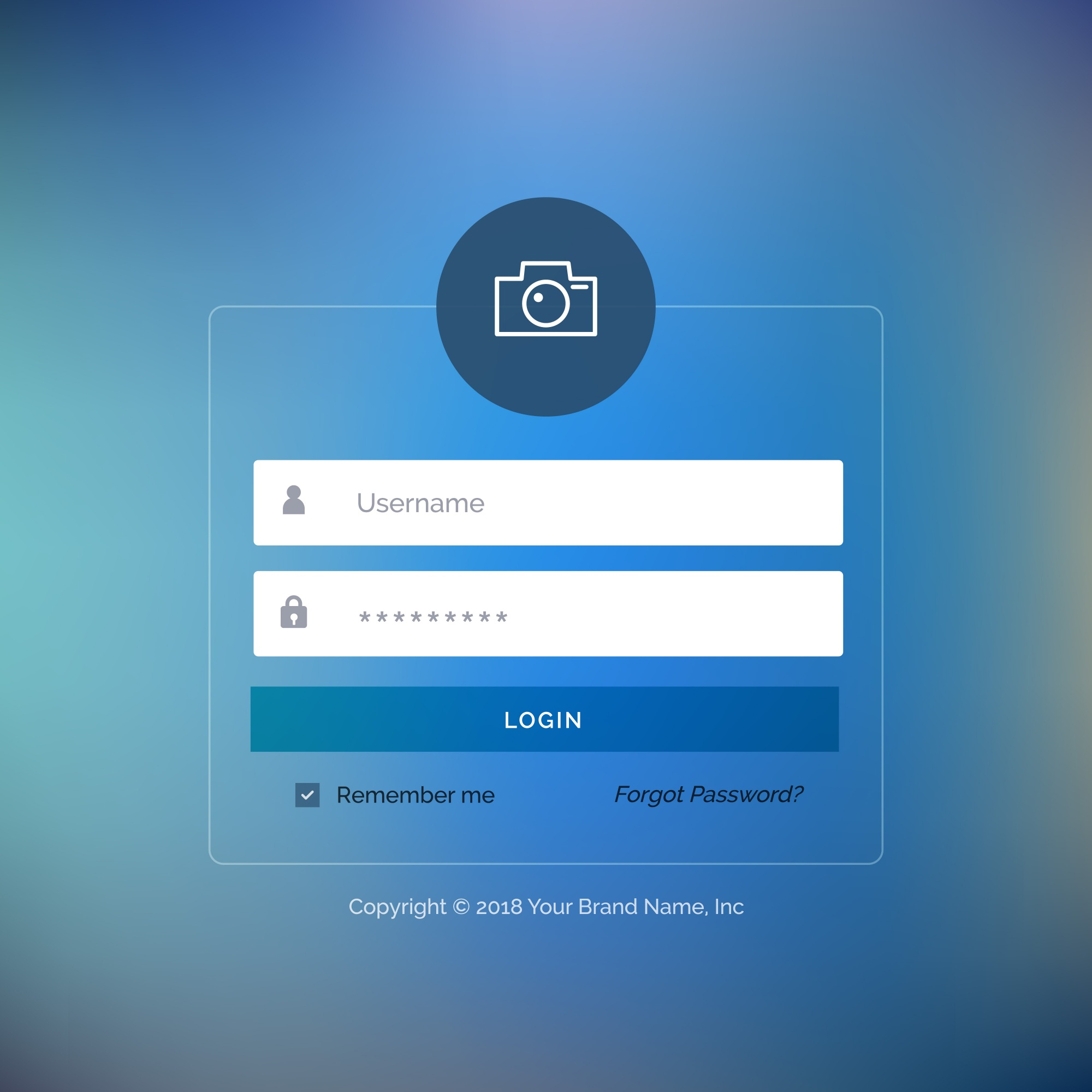 Web login template with blue button