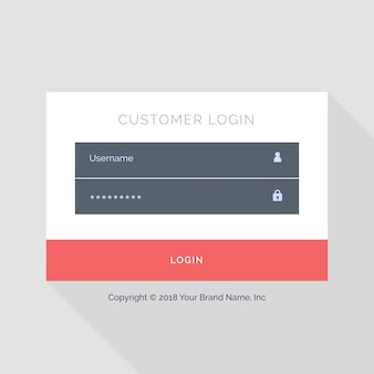 Web login template with red buttons