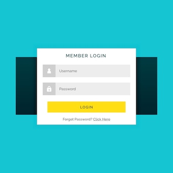Web login template with yellow buttonc