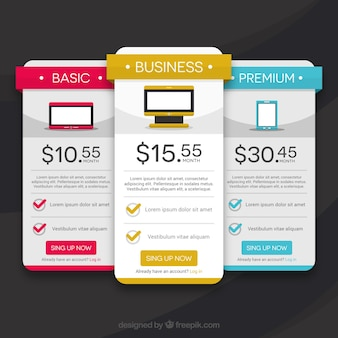 Web pricing template