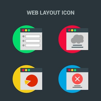 Web template, 4 icons on black background