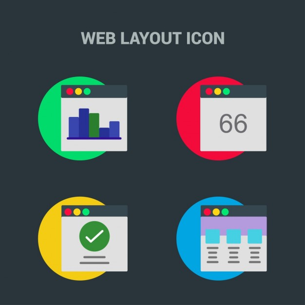 Web template, icons on black background