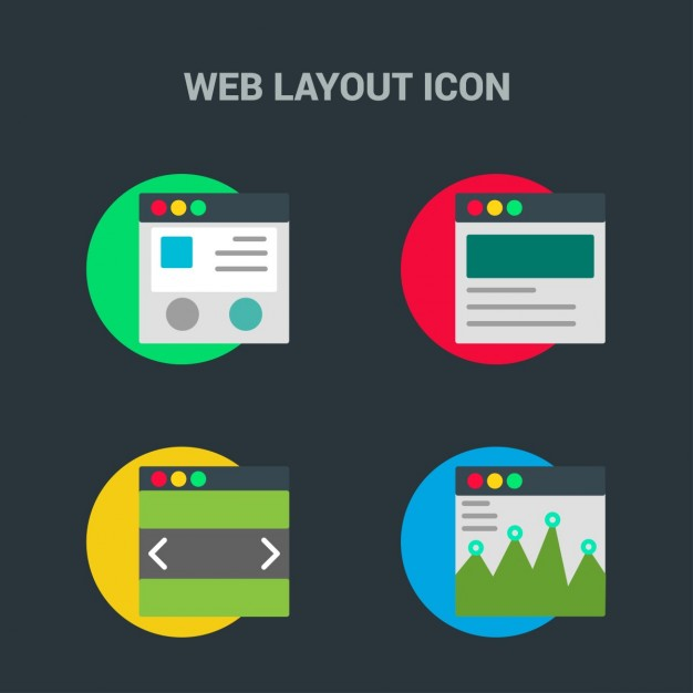 Web template icons on black background
