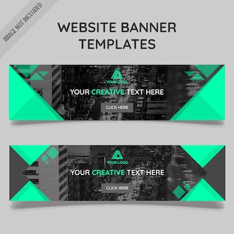 Website banner templates with polygonal shapes