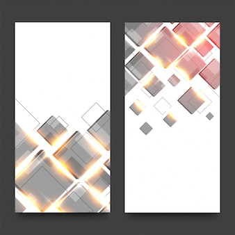 Website banners set with squares and lens flare.
