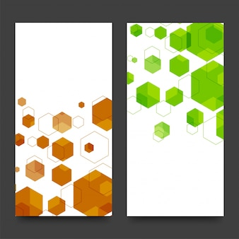 Website banners with brown and green hexagons.