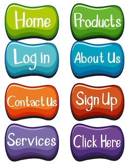 Website buttons design with words