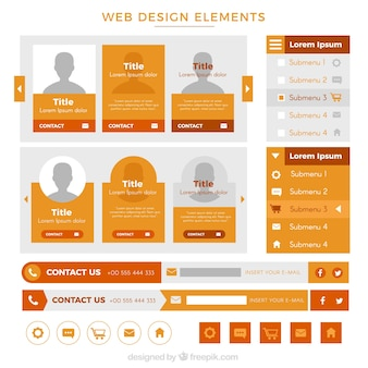 Website element collection in orange color