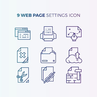 Website settings icon collection