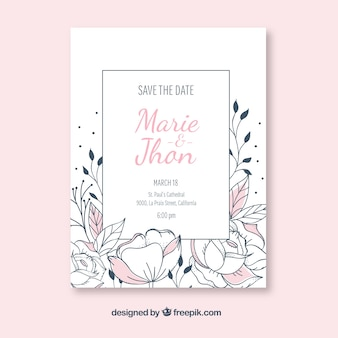 Weddin invitation with hand drawn flowers