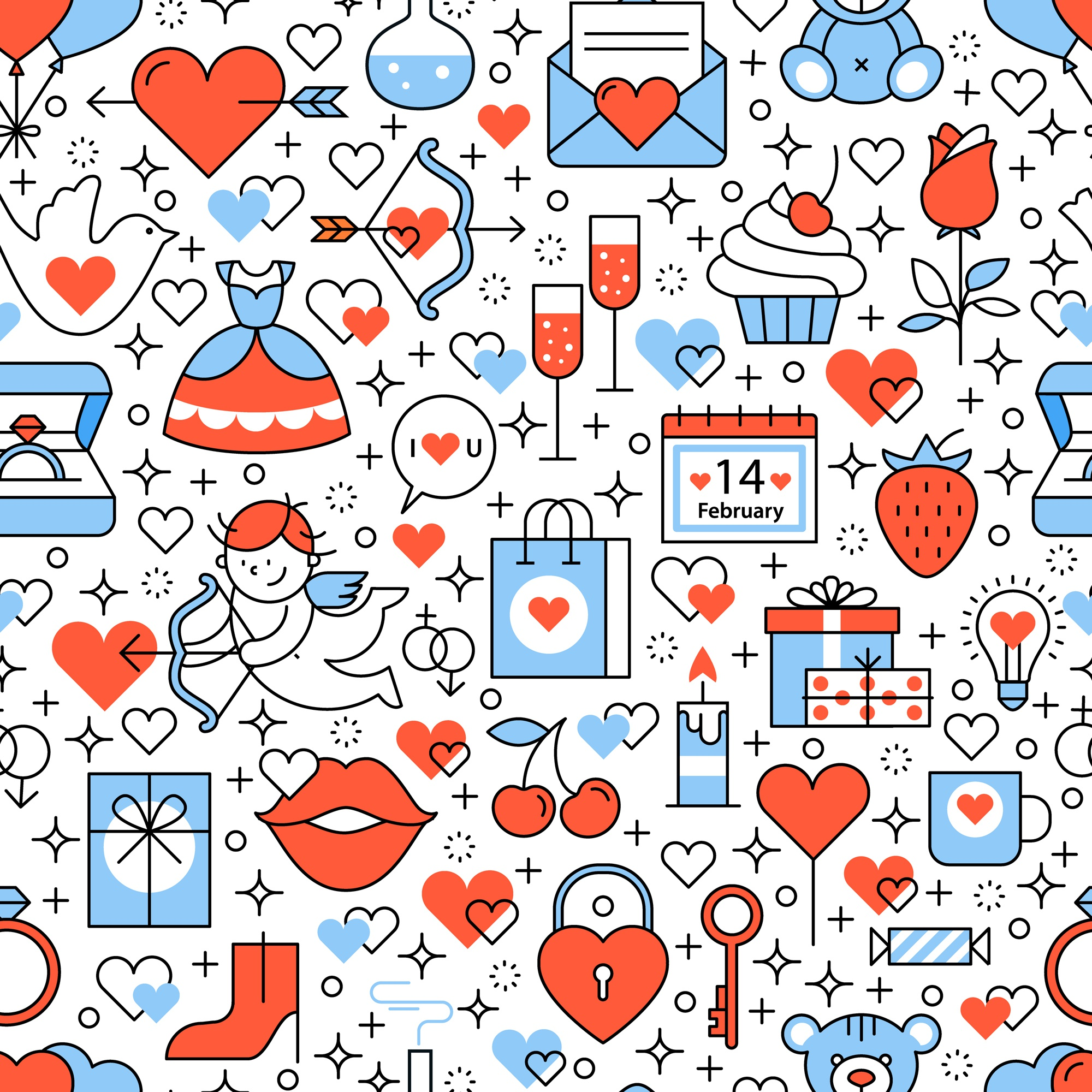 Wedding and marriage icons square seamless pattern