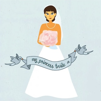 Wedding bride with blue ribbon background