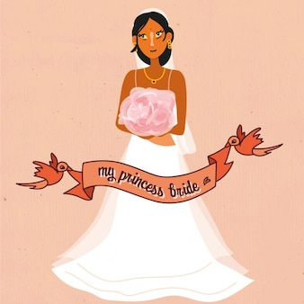 Wedding bride with red ribbon background