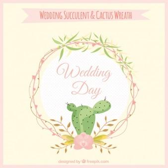 Wedding cactus wreath design