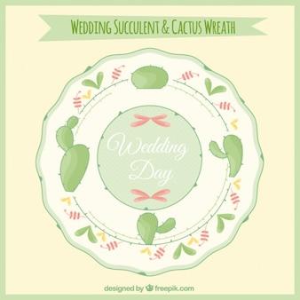 Wedding cactus wreath flat design