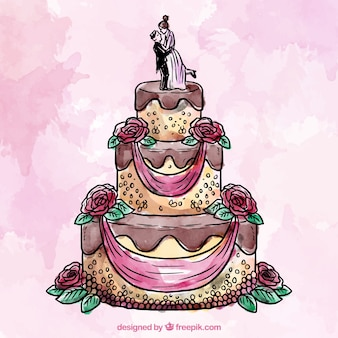 Wedding cake in watercolor style