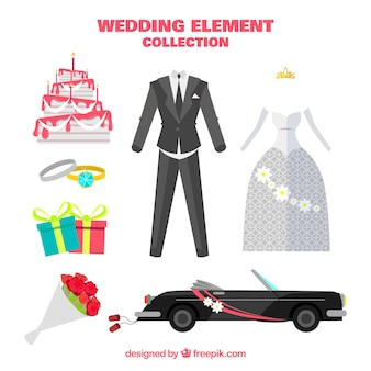 Wedding car with other elements in flat design