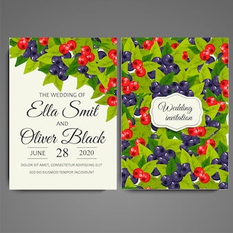Wedding card berries design