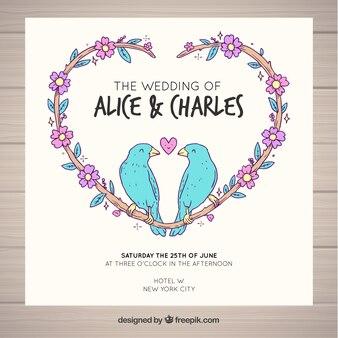 Wedding card birds design
