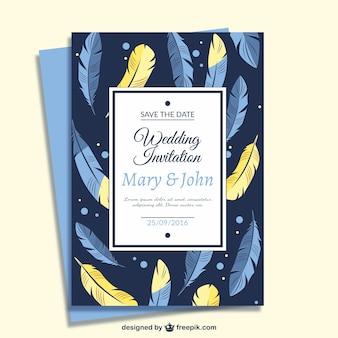 Wedding card feather design