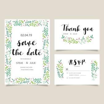 Wedding card leaves design