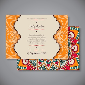 Wedding card or invitation. Vintage decorative elements.