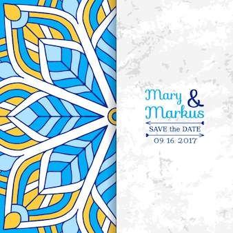 Wedding card with a blue and yellow mandala