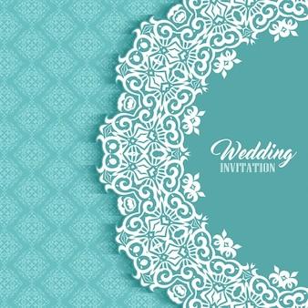 ダマスクスタイルのデザインと装飾の結婚式の招待状の背景