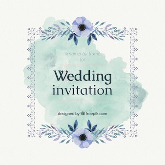Wedding card with blue watercolor flowers