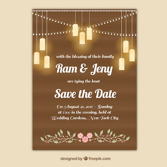 Wedding card with bulbs