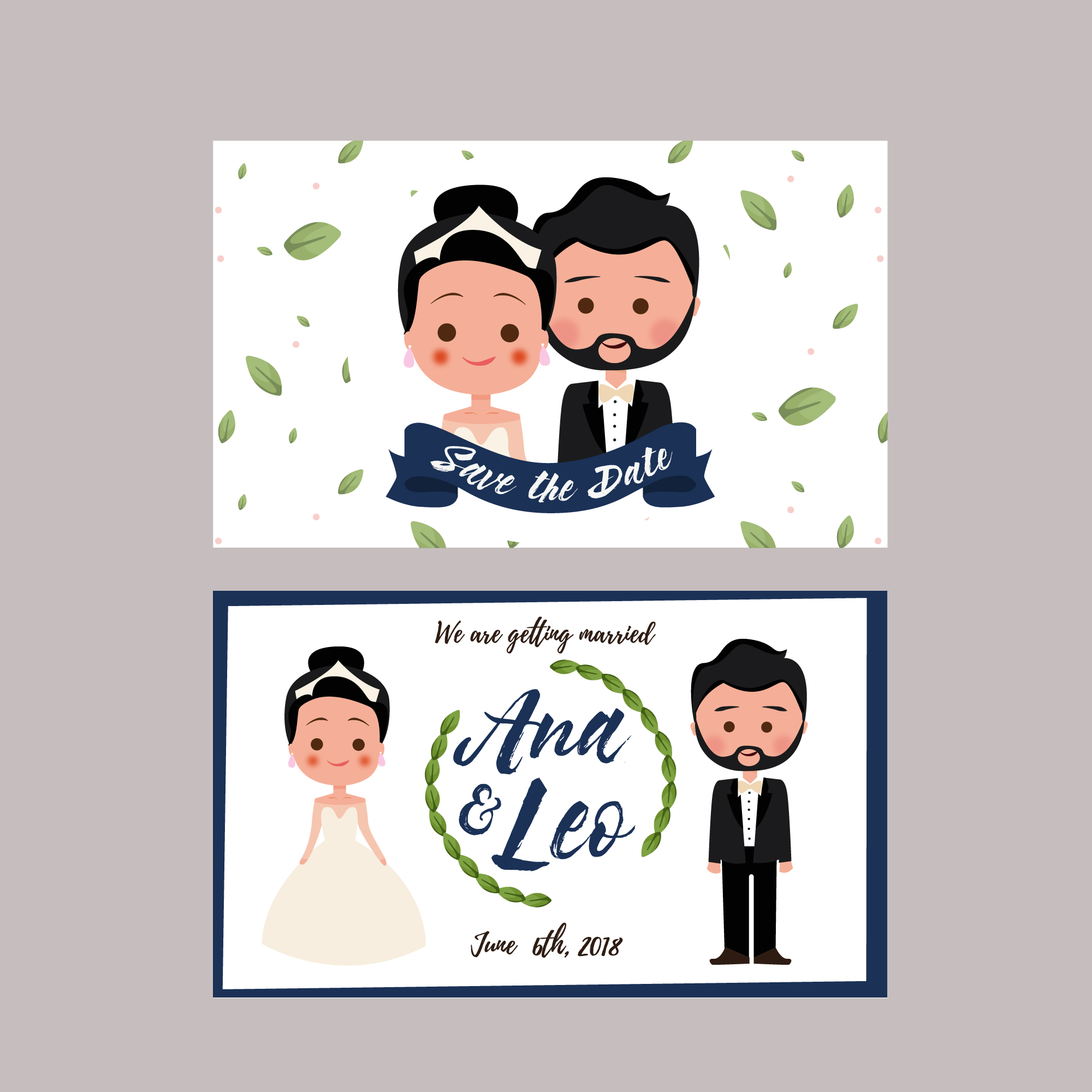 Wedding card with characters