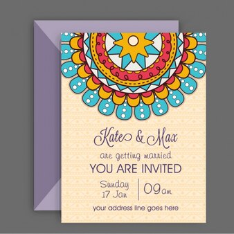 Wedding card with decorative mandala