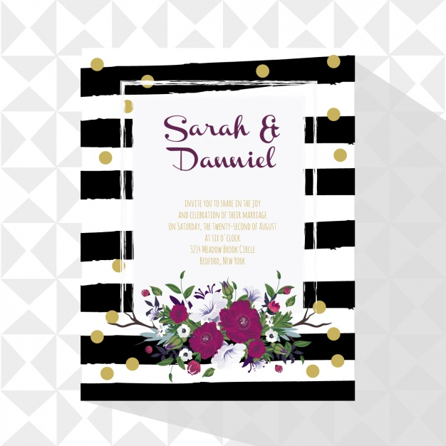 Wedding card with floral decoration