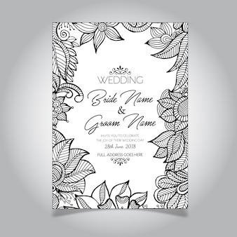 Wedding card with floral design