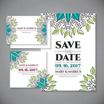 Wedding card with floral details