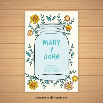 Wedding card with floral elements sketches