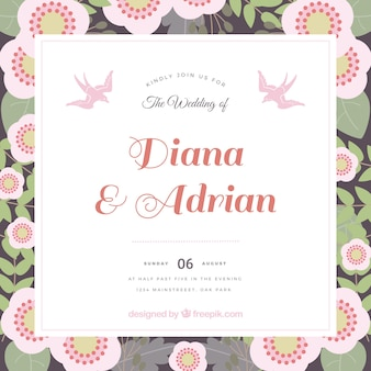 Wedding card with floral style