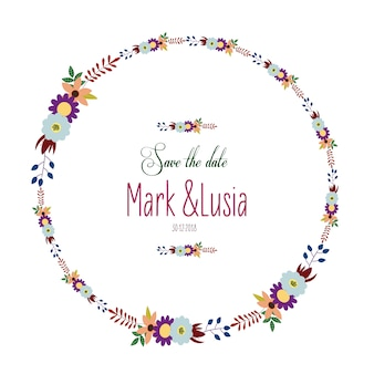 Wedding card with floral wreath