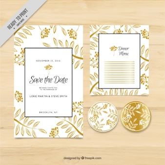 Wedding card with golden floral theme elements