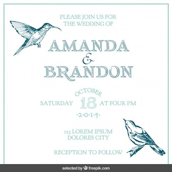 Wedding card with hand drawn birds