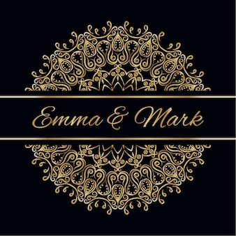 Wedding card with mandala design