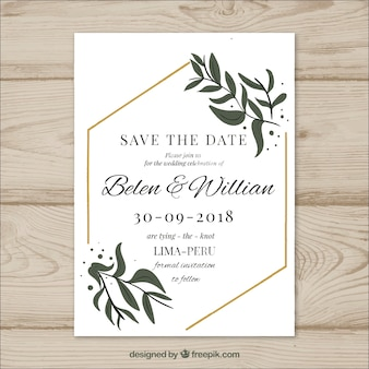 Wedding card with modern leaves