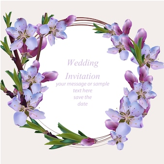wedding card with purple floral wreath